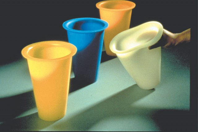 Soft Vases, blue, yellow and white