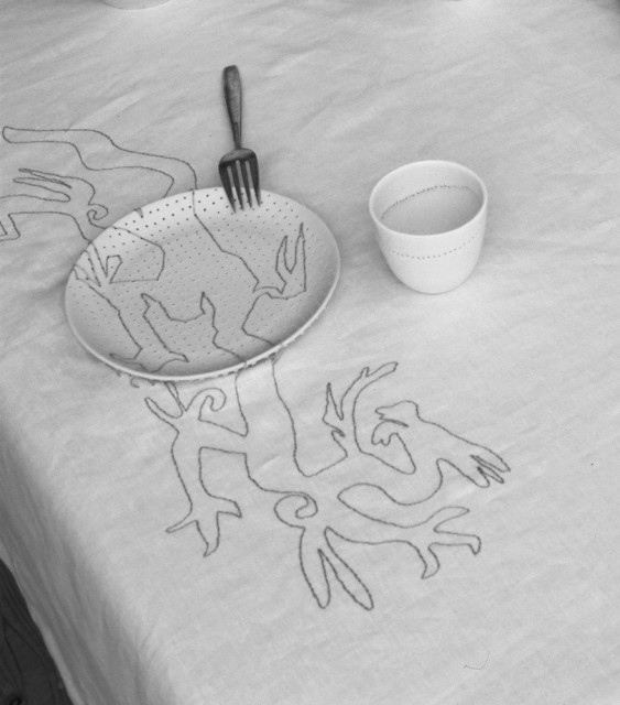 Embroidered Tablecloth Grey