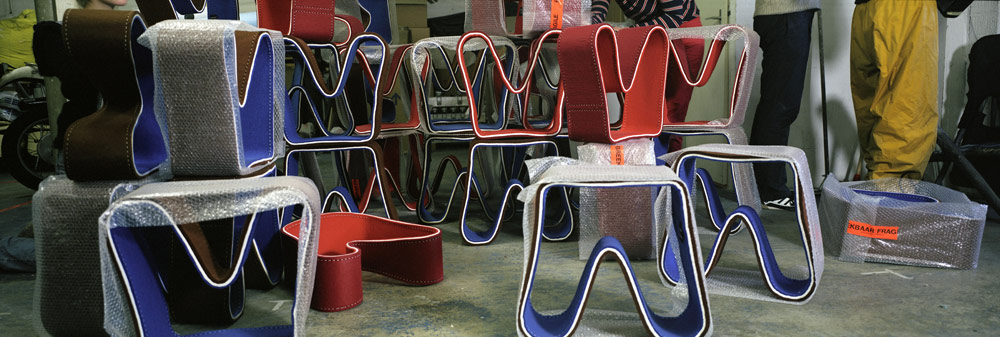 Felt stools in storage