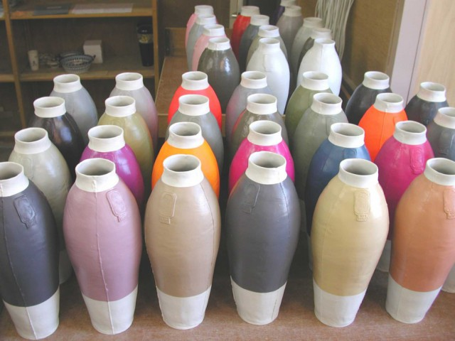 Coloured vases