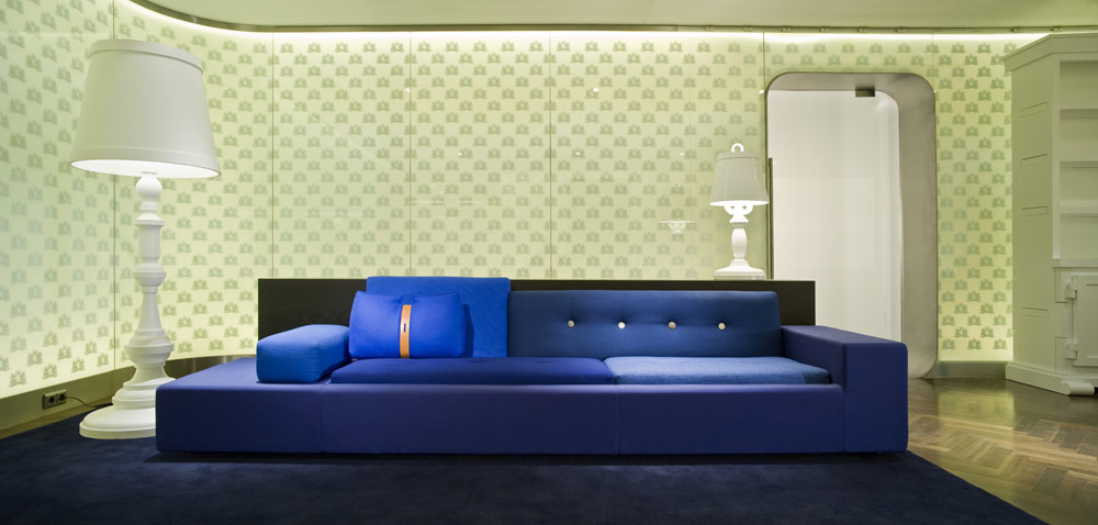 Royal Blue Polder Sofa at Royal Lounge at Schiphol Airport