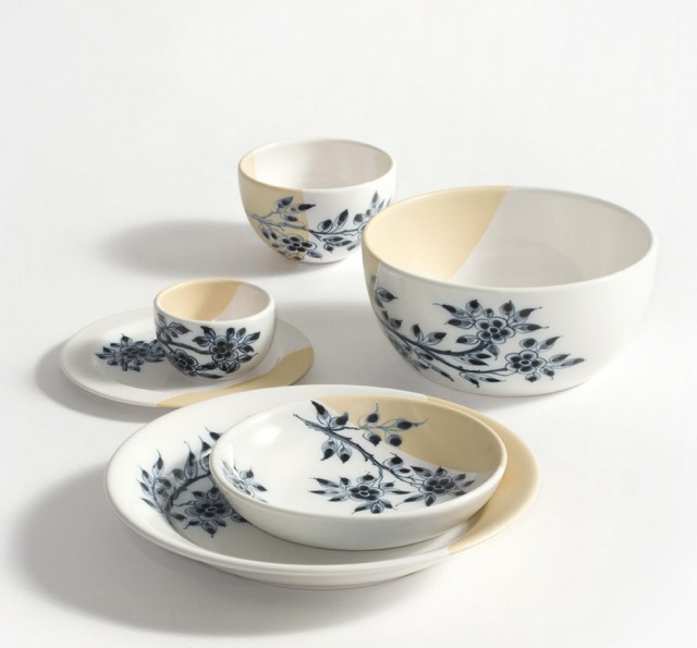 Bowls and plates with blue decoration