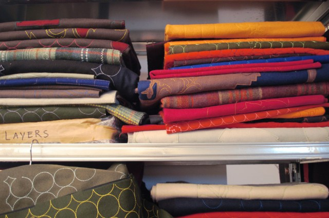 Layers Samples piled up in cupboard