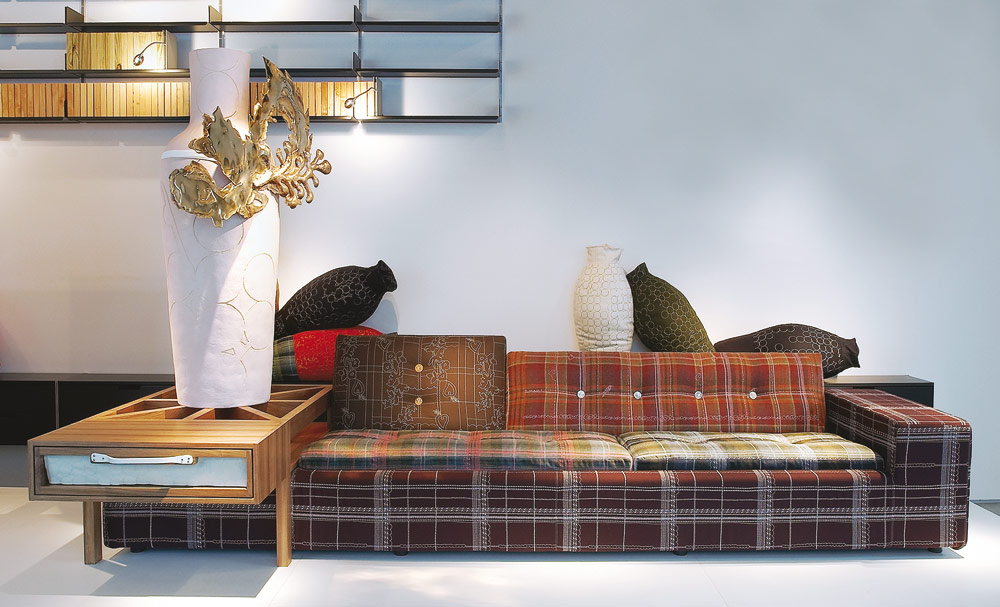 Layers on Polder Sofa (with Jackpot Vase and Quilted Vases)
