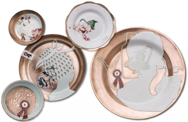 Shippo Plates The complete series of five copper and enamel plates