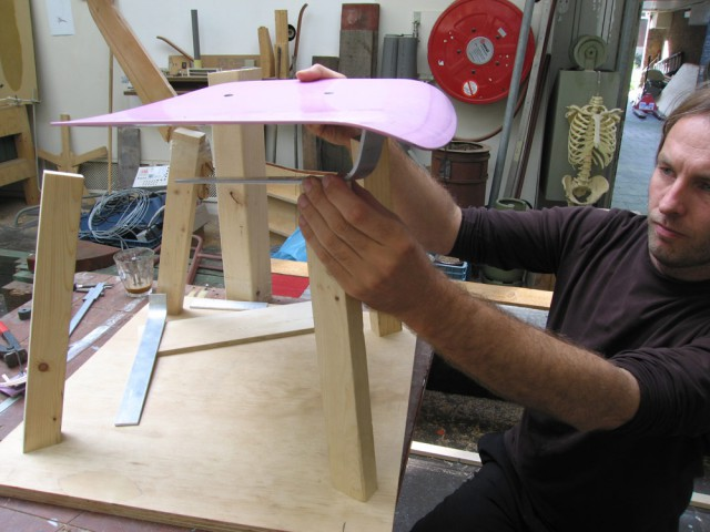 Arian working on a first model of the chair
