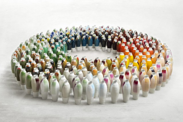 300 coloured vases