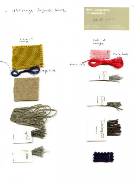 Samples of yarns and fabric showing different try-outs for colour variation