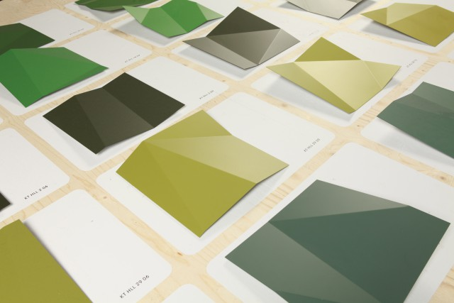 paint chip samples of the 25 different shades of green