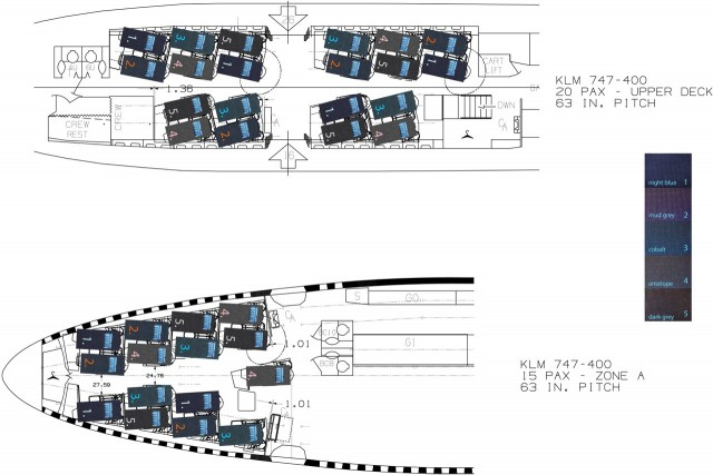 Plan view of the diamond seat within the cabin