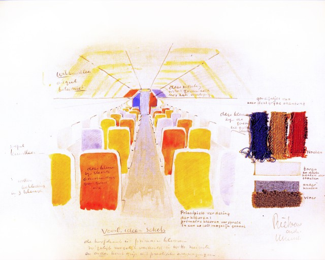 Colour proposal by Gerrit Rietveld in the 50's, from the archives of KLM