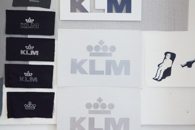 Detail of logo embroidery and research