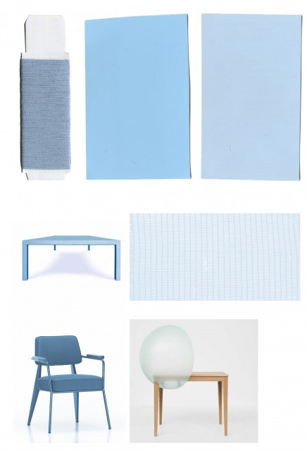 Fauteuil Direction and the UN Lounge Chair are upholstered in different shades of blue textile by company De Ploeg