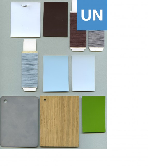 Palette of colours and materials for the furniture for the North Delegates' Lounge