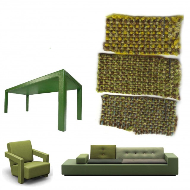 Samples of green textile by De Ploeg
