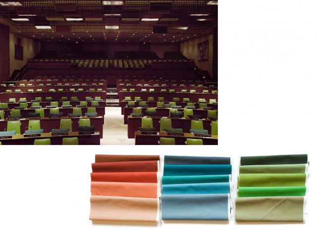 Interior of the Trusteeship Council Chamber, used as a reference for the colour palette