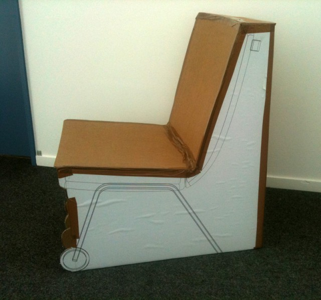 UN Lounge Chair, first model for trying out the volumes
