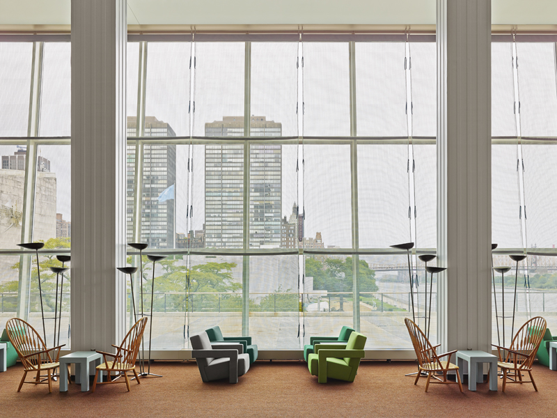 Utrecht Chair and Peacock Chairs next to the window with the Knots & Grid Curtain by Irma Boom / photo © Frank Oudeman