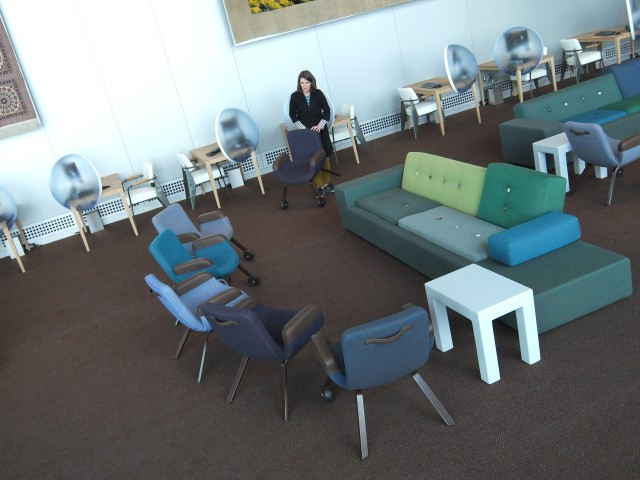The Sphere Tables placed in the UN Delegates' Lounge
