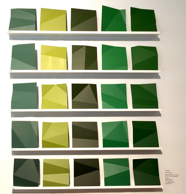 Daylight Colour Project - five tones of green presenting their change in appearance throughout one day