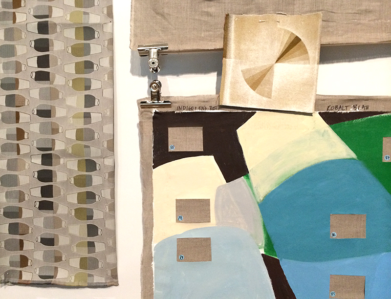 Detail of Vase Paintings next to colour and fabric samples
