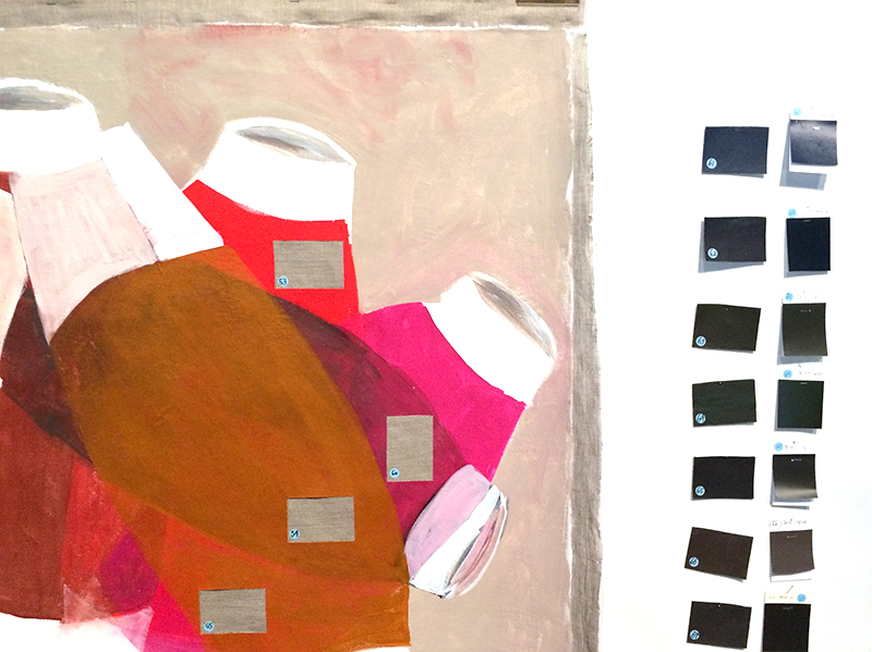 Detail of Vase Paintings next to colour samples