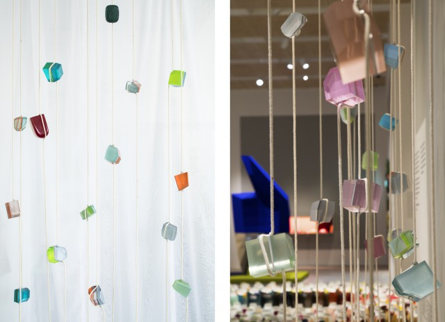 The hanging Crystal Beads highlight how colour changes as light passes through transparent material.