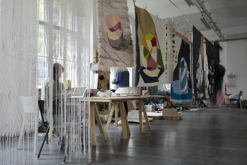 Design Process – test set ups for the Woven Movie textiles. Photo: Roel van Tour