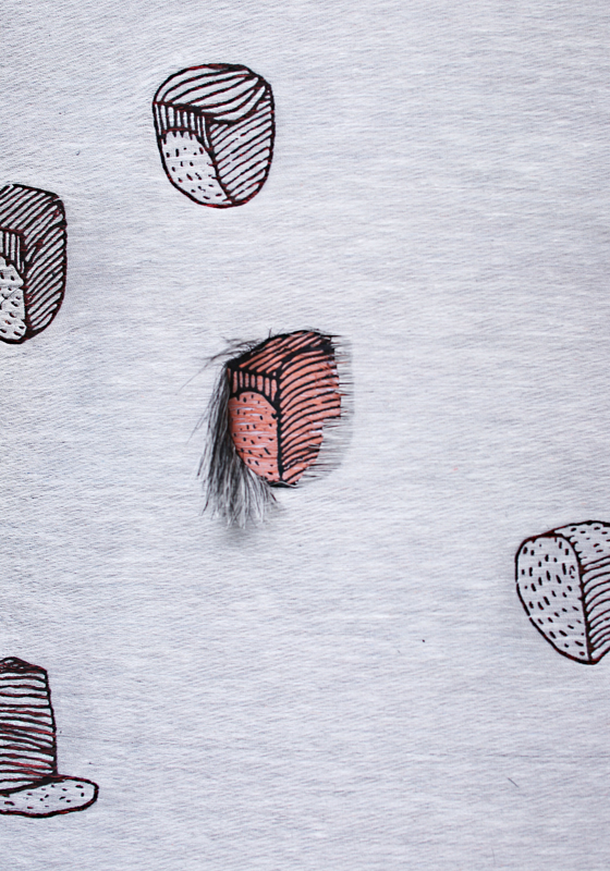 Detail of the textile for ¡Innovation requires serendipity!