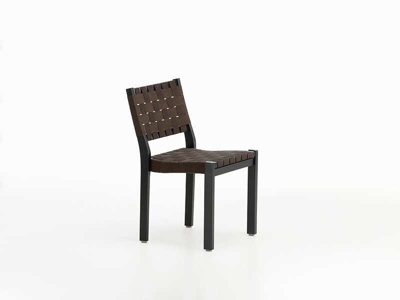 Chair 611 new collection, black brown webbing