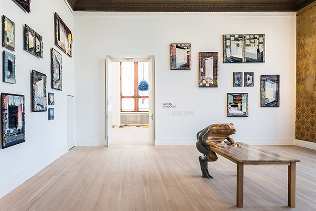 Woven Cosmos, exhibition view with Woven Windows and Frog Table photo by Laura Fiorio