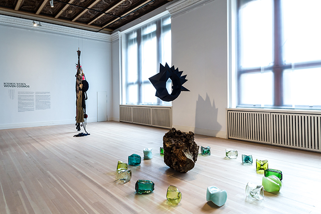 Grain Wheel and Space Amulets at the Woven Cosmos exhibition, Gropius Bau, 2021 photo by Laura Fiorio
