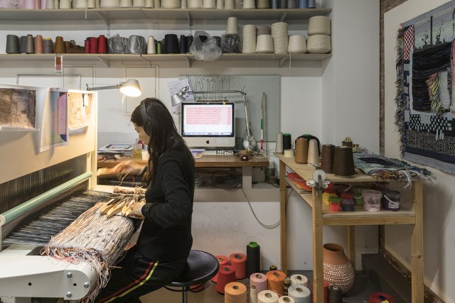 Woven Cosmos, weaving research on the digital Jacquard loom at the Jongeriuslab studio, Berlin photo by Laurian Ghinitoiu