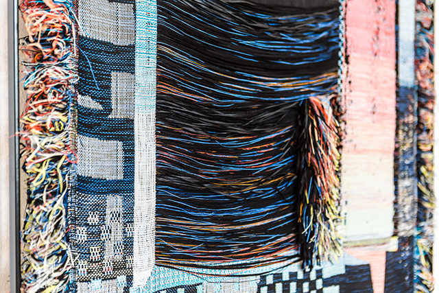 Woven Cosmos, exhibition view with Woven WindowsUndertone View (detail), from the series Woven Windows, 2020 photo by Laura Fiorio