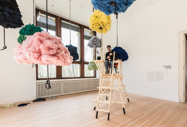 Clouds of recycled fibres were used to spin the warp of the Cosmic Loom during the exhibition Woven Cosmos photo by Laura Fiorio