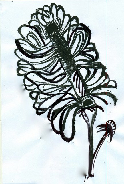 Blockprint of flower