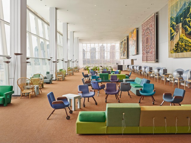 The interior of the UN North Delegates' Lounge